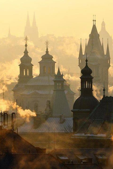 Prague in the fog