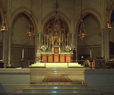 A view of the high altar at the Church of St. Mary the Virgin in Times Square.