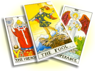 Tarot cards with the famous images designed by Pamela Colman Smith.