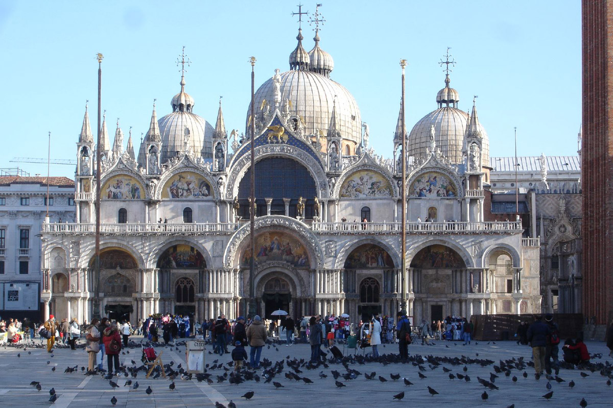St. Mark's in Venice (begun in 832 and burned in a rebellion in 976, was rebuilt in 978 and completed in 1647) is full of treasures taken from Constantinople in 1204 by the Fourth Crusade.