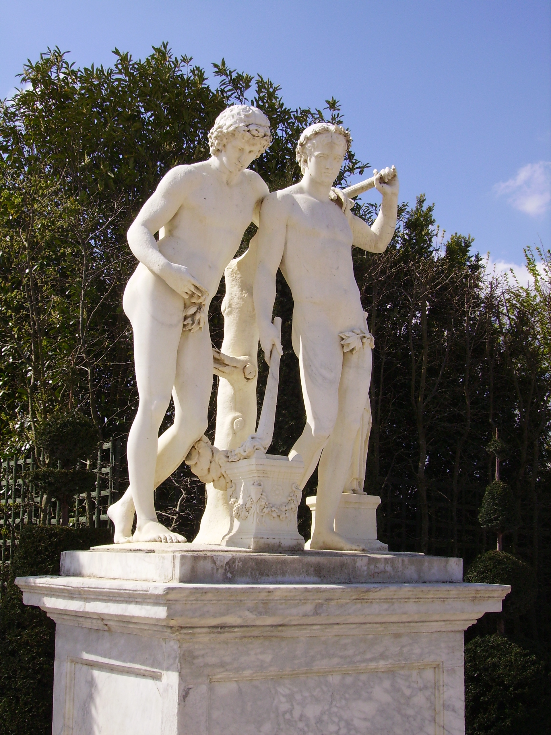 Statue of the twins Castor and Pollux, now in the Parc de Versailles.