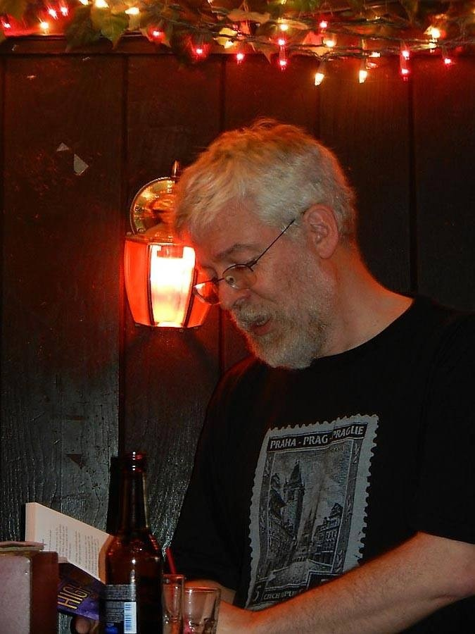 Reading an excerpt at the May 15 book party at Marie's Crisis.
