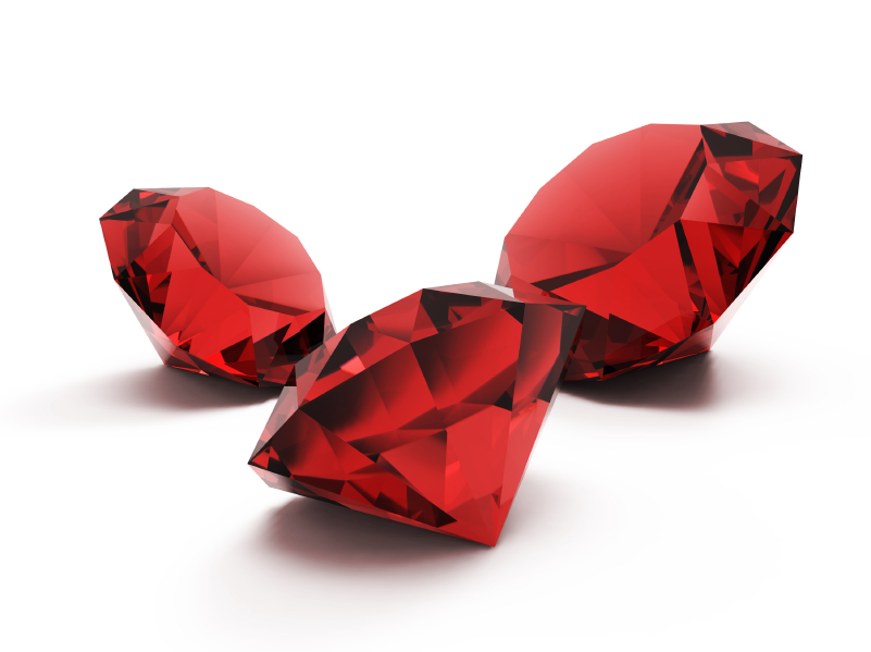 Rubies are the birthstone of July and are said to guarantee health, wisdom, wealth and success in love.