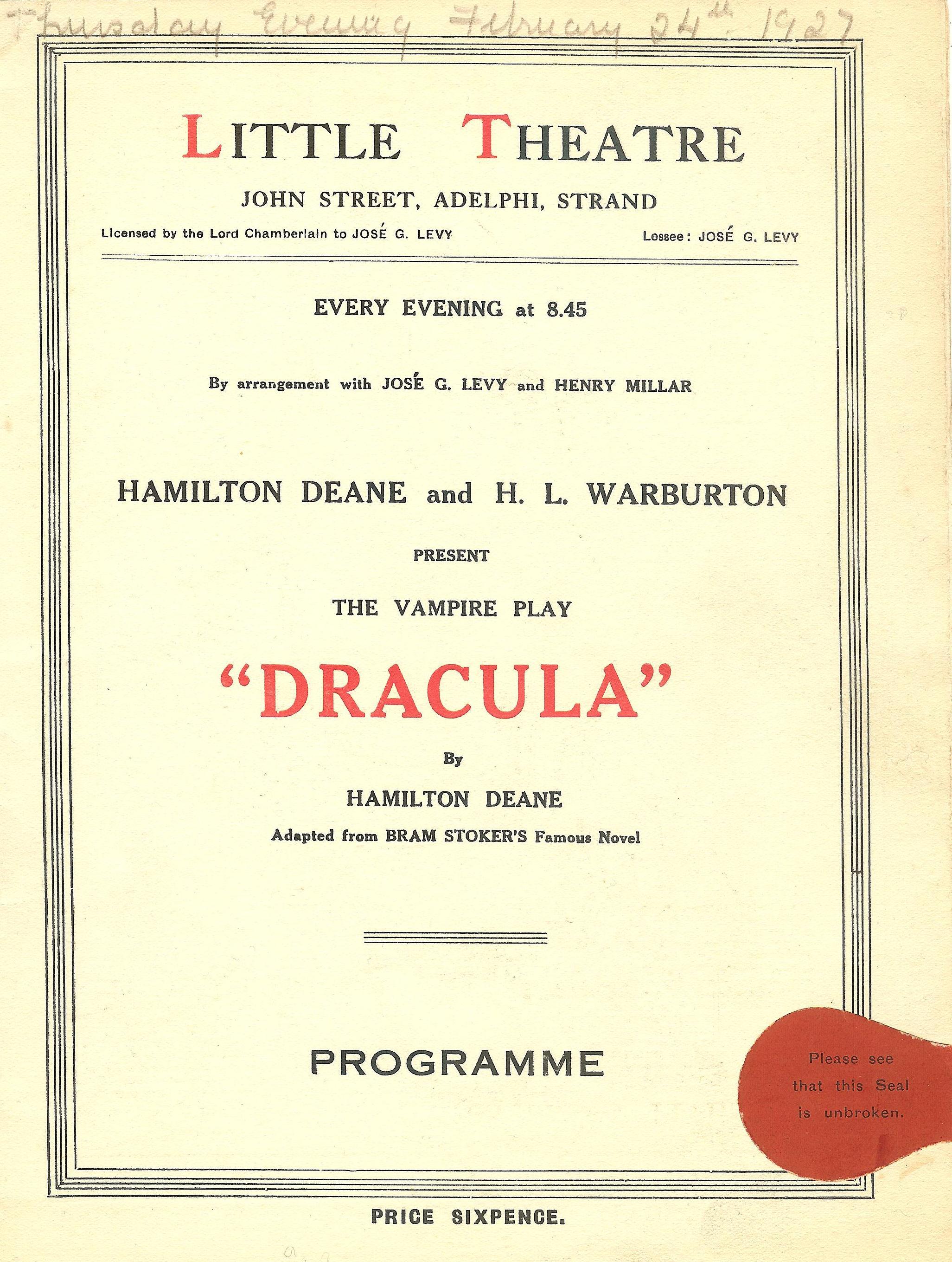 Dracula Rare Original 1927 progm