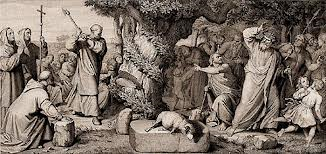 Depiction of St. Boniface cutting down Thor's Oak.