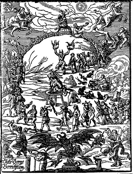 Title illustration of Johannes Praetorius (writer) (de)' Blocksbergs Verrichtung (1668) depicts the witches' festival and worship of the Devil commonly imagined to be celebrated on Walpurgis Night.
