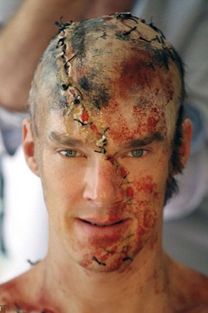 Close-up of Benedict Cumberbatch as the creature of Dr. Frankenstein in 2011.