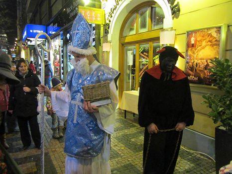 St. Nicholas and a devil in Wenceslas Square (Dec 6, 2014).