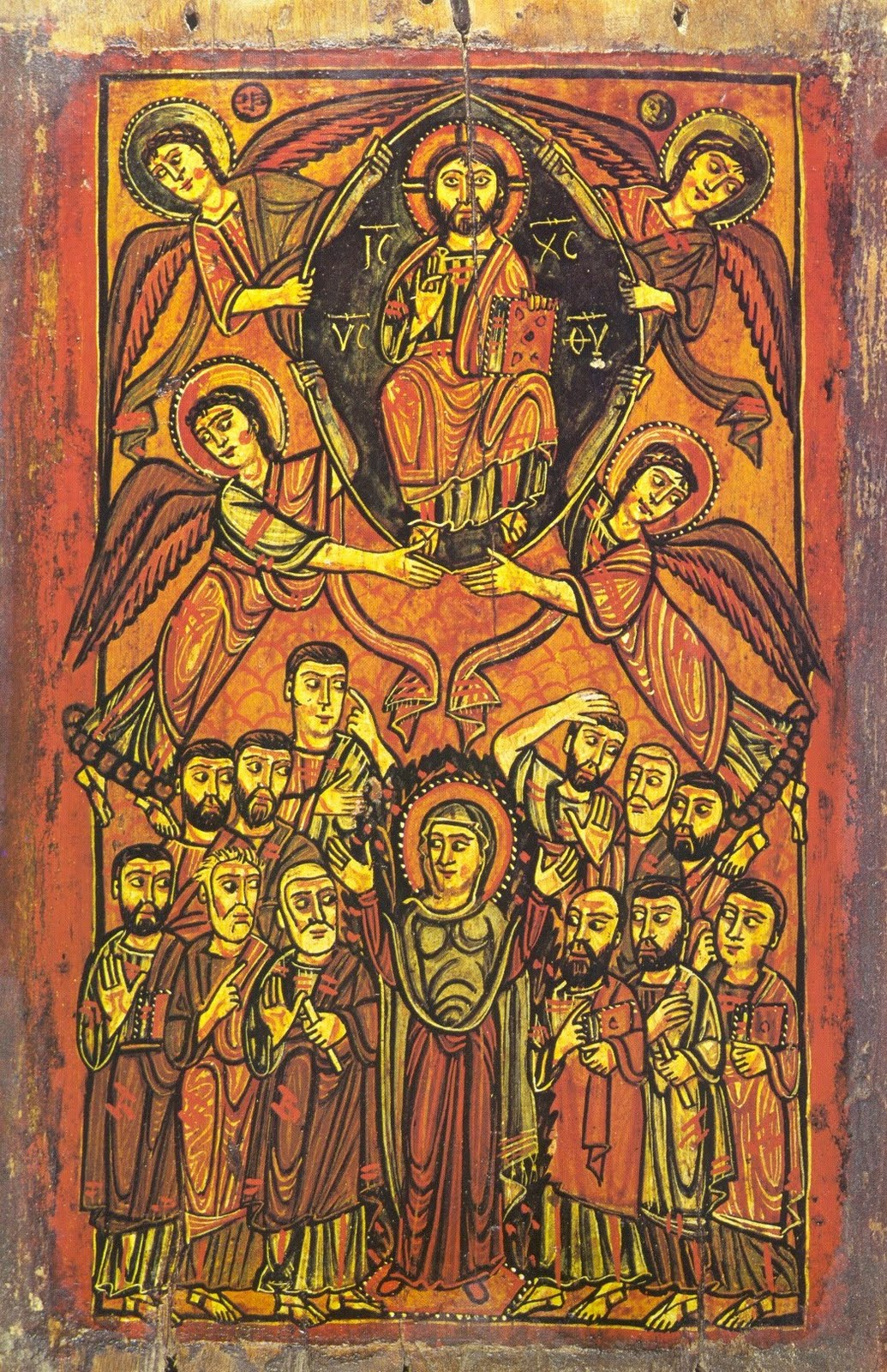 Icon of Ascension Day, showing Christ enthroned in glory above with the apostles and Mother of God below. The Ascension icon can also be viewed as an image of Christ coming at the end of time to judge the world.