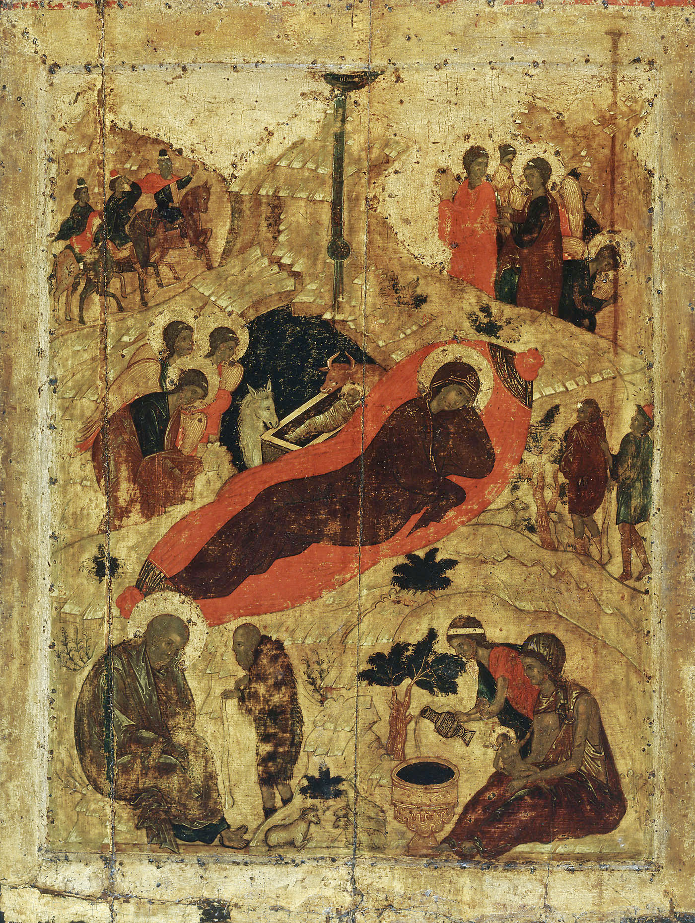 Eastern Orthodox icon of the birth of Christ by St. Andrei Rublev, 15th century. Note that the shepherd speaking with St. Joseph in the lower left is shown in profile, a pose reserved only for this shepherd, the Devil,  and for Judas Iscariot and which indicates their interior wickedness and efforts to hide themselves from God. Also, the cave in which Christ is born is painted with the same absolute black pigment -- unmixed with any other dark colors, which is more usual -- as is the tomb of Christ or the abyss of Hell, into which the Divine Presence has entered.