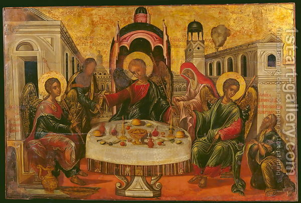 "This icon of the ""Hospitality of Abraham"" depicts Abraham and Sarah serving the three angels who came to visit them at the Oaks of Mamre. They promised that Sarah would have a son in a year and then two of the angels went on to save Abraham's nephew Lot from the destruction of Sodom and Gomorrah."