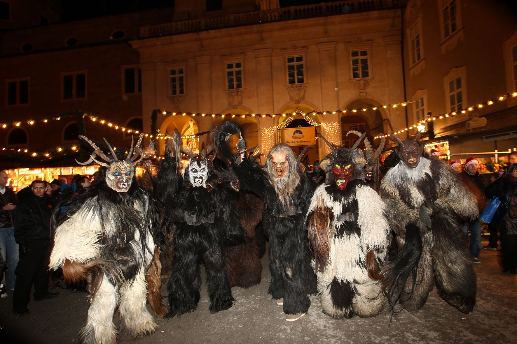 Krampus revels at the Salzburg Christmas Market, 2011; photo by Neumayr/MMV 05.12.2011