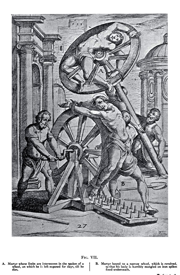 A woodcut depicting how the limbs of a victim would be laced through the spokes of the wheel.