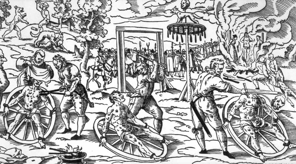 A woodprint depicting the execution of Peter Stumpp, a famous convicted werewolf, on the wheel in Cologne.