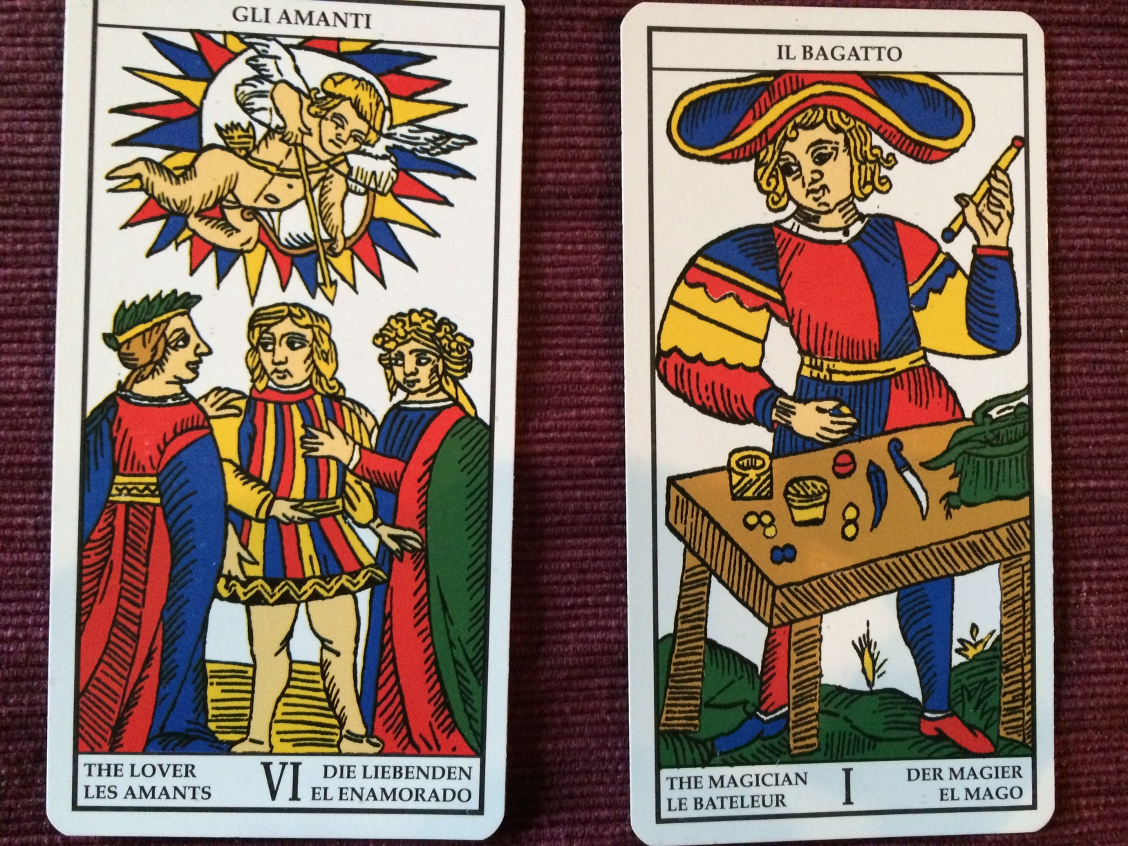 The Lovers and the Magician from the Tarot of Marseille deck, published by Lo Scarabeo.