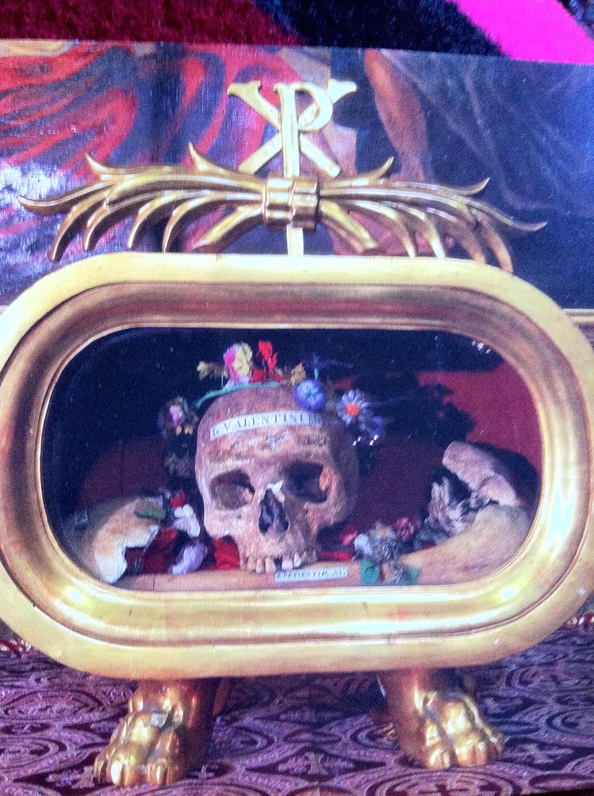 The skull and other relics of St. Valentine, a priest martyred in Rome during the early centuries of Christianity, now kept on a side altar in the Basilica of Santa Maria in Cosmedin in Rome.