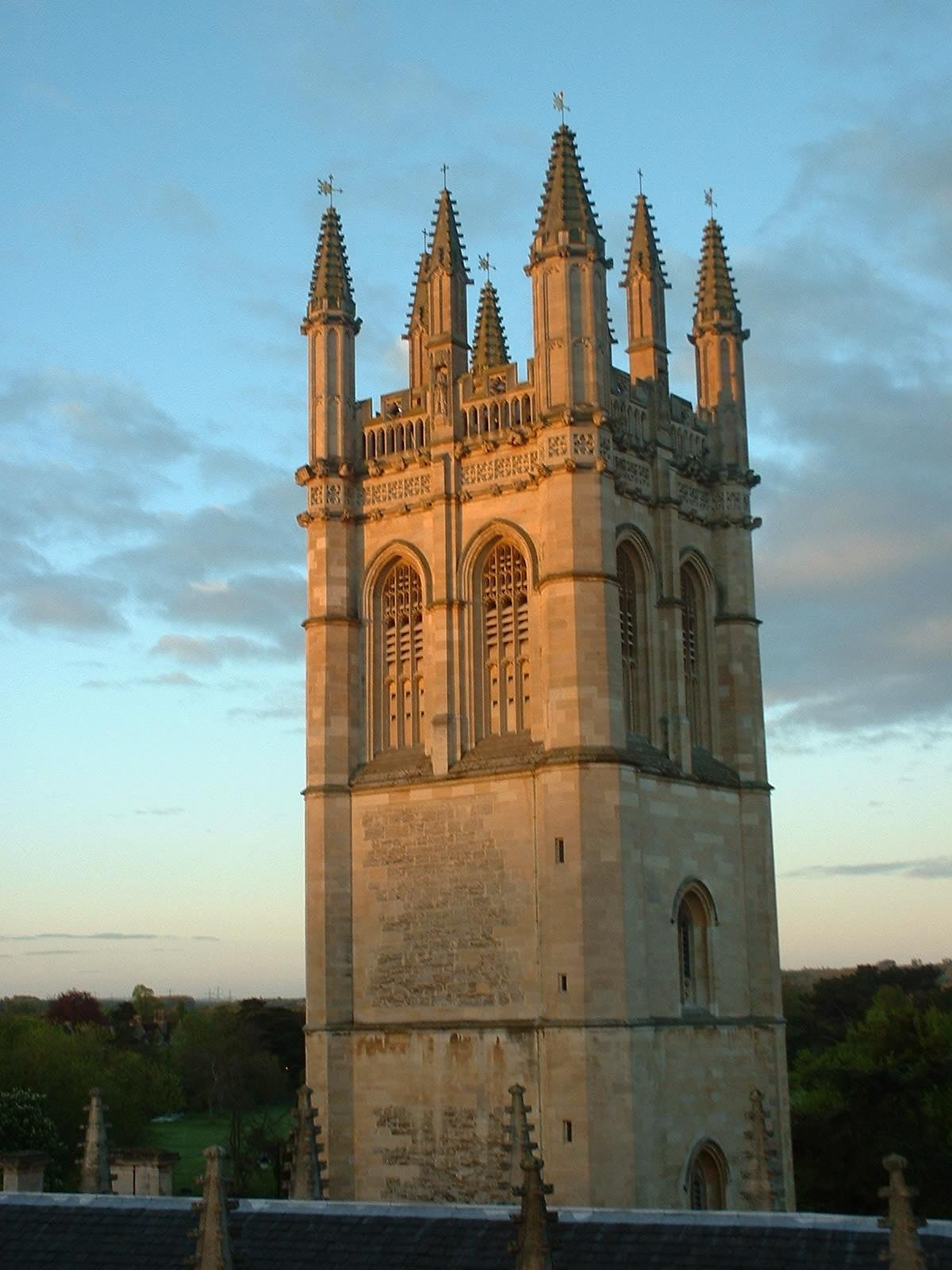 Magdalen Tower, Oxford, is the center of the historic May Day celebrations in the university town.