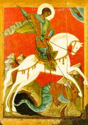 Russian icon of St. George battling the dragon