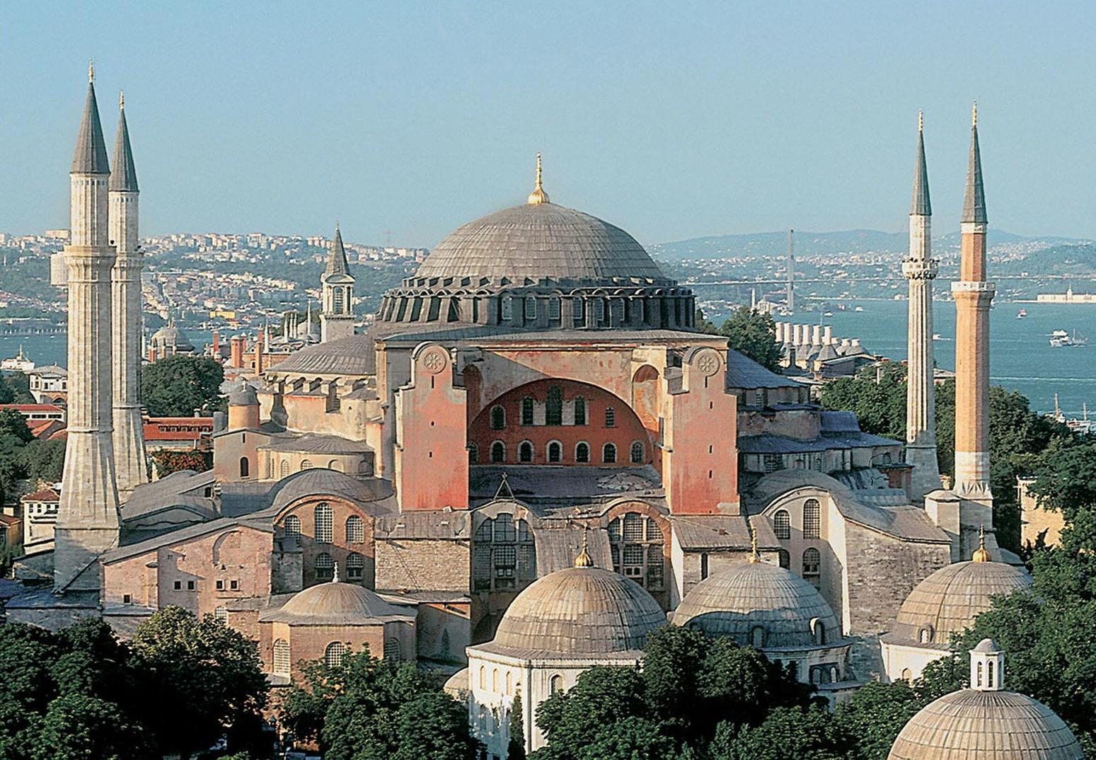 Hagia Sophia, the great cathedral of Holy Wisdom, was built by the emperor Justinian and was the largest dome in the world until the Astrodome was built. The minarets were added by the Turks when they converted the cathedral into a mosque after they captured the city in 1453.