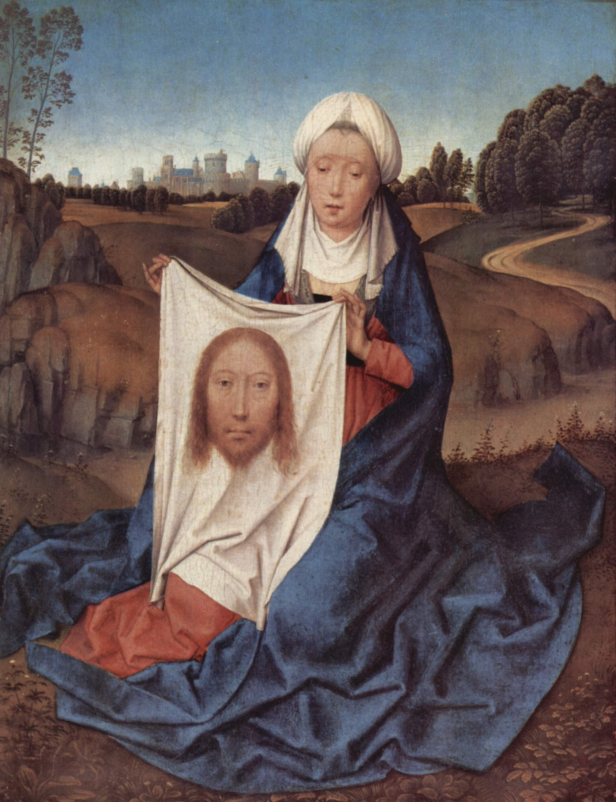 Veronica holding her veil, by Hans Memling (c. 1470)